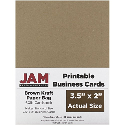 JAM PAPER Printable Business Cards - 3 1/2 x 2 - Brown Kraft Paper Bag Recycled - 100/Pack - Recycled Business Cards