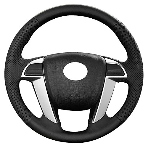 Eiseng DIY Genuine Leather Steering Wheel Cover Wraps for 8th 2008 2009 2010 2011 2012 Honda Accord/for 2011-2016 Odyssey/for 2009-2015 Pilot Stitch on Wrap 15 inches Black Thread