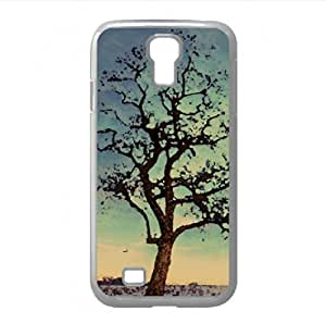 Trees Under New Moon, Winter Watercolor style Cover Samsung Galaxy S4 I9500 Case (Winter Watercolor style Cover Samsung Galaxy S4 I9500 Case)