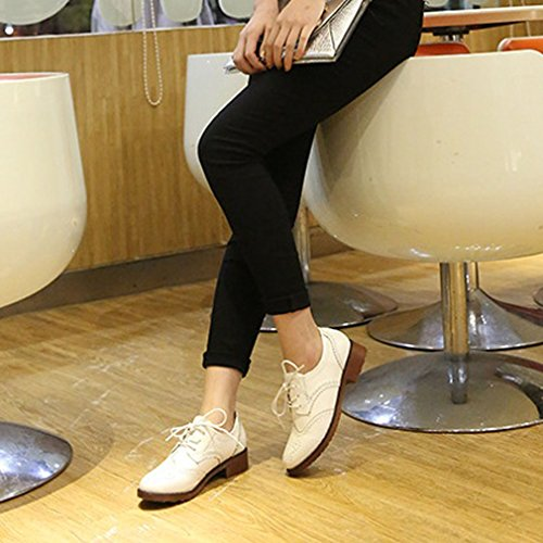 Plates Blanc Chaussures Vintage Xianshu Femmes Up Chaussures Blogue Lace qwqA0F8x