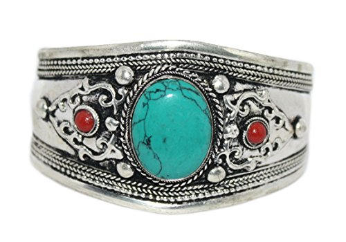 Tibetan Coral Silver Sterling - Handmade Turquoise Cuff Bracelet Nepal Bracelet Tibetan Bracelet Tibet Bracelet