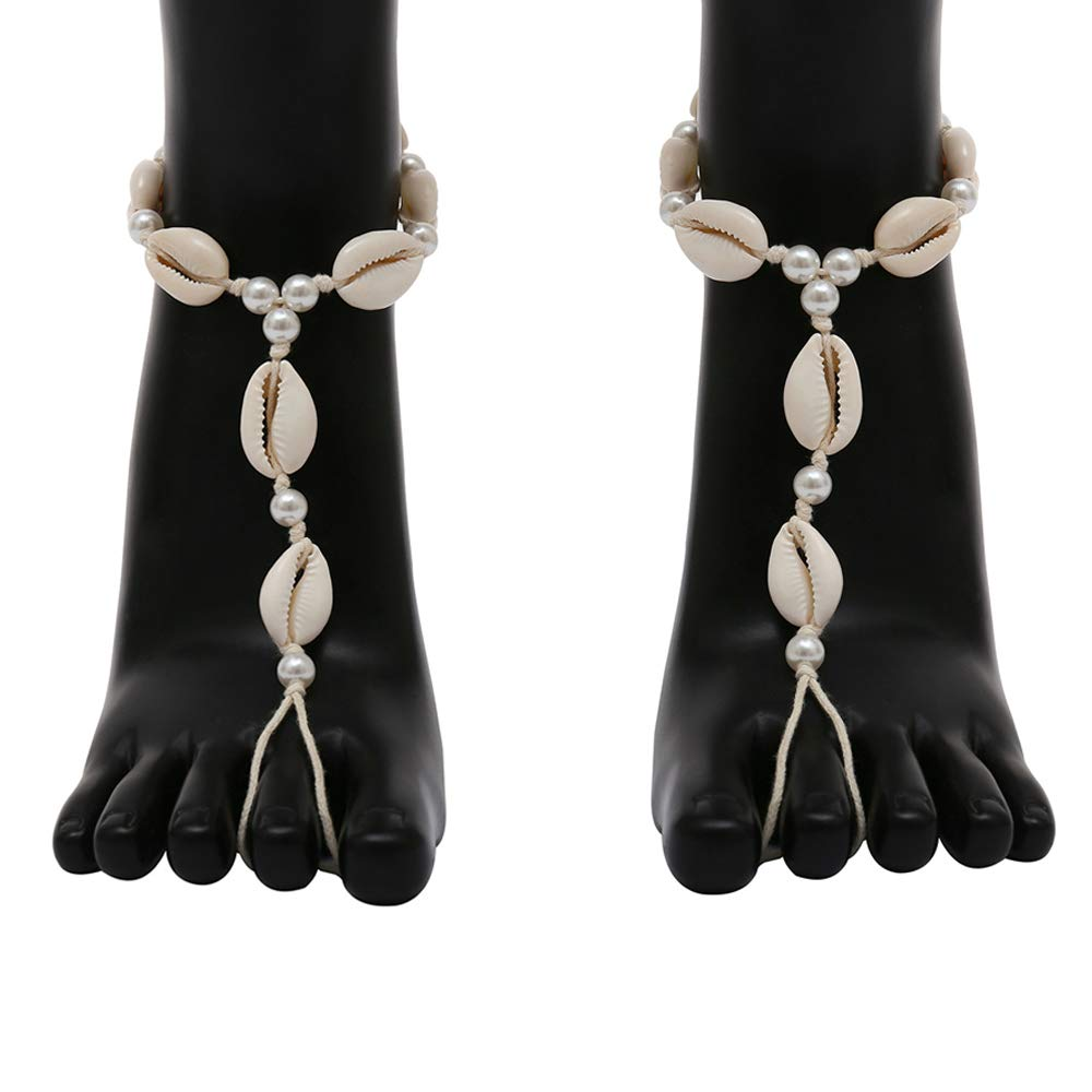 Eastever 2 Pieces Women's Foot Chain, Handmade Shell Pearls Anklet Chains with Toe Ring, Beach Woven Barefoot Chains Footwear Wedding Foot Jewelry