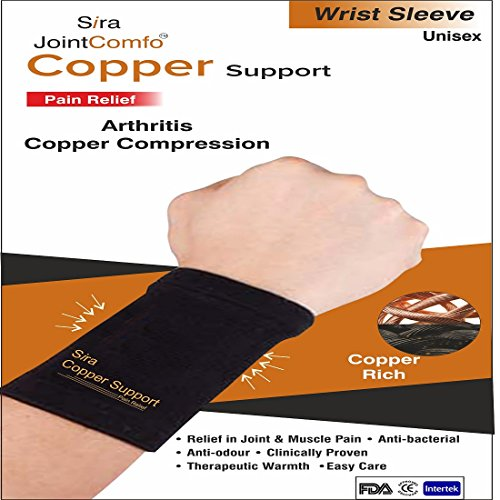 Sira Copper Compression Wrist Sleeves, Arthritis Pain Relief, Wrist Swellings, Muscle Joints Pain, Relieve Carpal Tunnel Syndrome, Graduate Compression in Wrist Pain, Sports Recovery, Hand Pain Relief