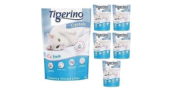 Tigerino Crystals Arena de Silicona para Gatos, 30 L, antibacteriana, antibacteriana y hipoalergénica, con fórmula de Control de Olor, Incluye Bola de Hierba gatera Natural de 4,5 cm: Amazon.es: Productos para mascotas