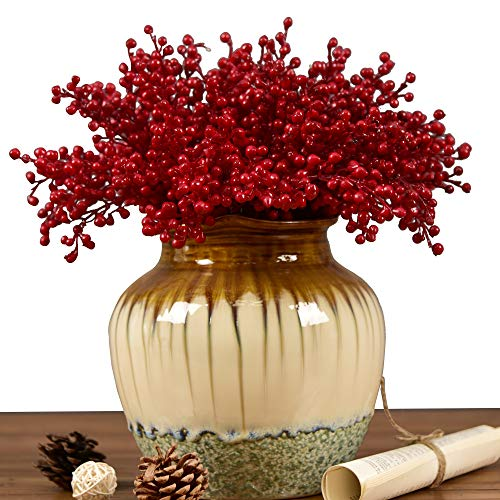 (Wootkey 16 Pcs Tiny Artificial Berries Rich Red Artificial Berry Stems Holly Christmas Berries for Festival Holiday and Home Decor (16 pcs Mini)