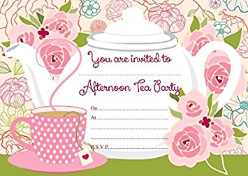 10 x afternoon tea birthday party invitations with pink envelopes 10 x afternoon tea birthday party invitations with pink envelopes stopboris Images
