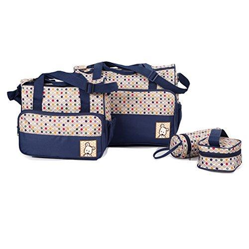 BigForest 5pcs in 1 set Multifunction Large Capacity Baby Diaper Bag Nappy Changing Pad Travel Mummy Bag Tote Handbag Set Blue