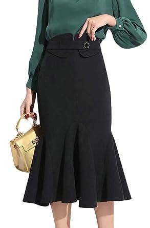 BingSai Falda de Cintura Alta con Volantes para Mujer, con Corte ...