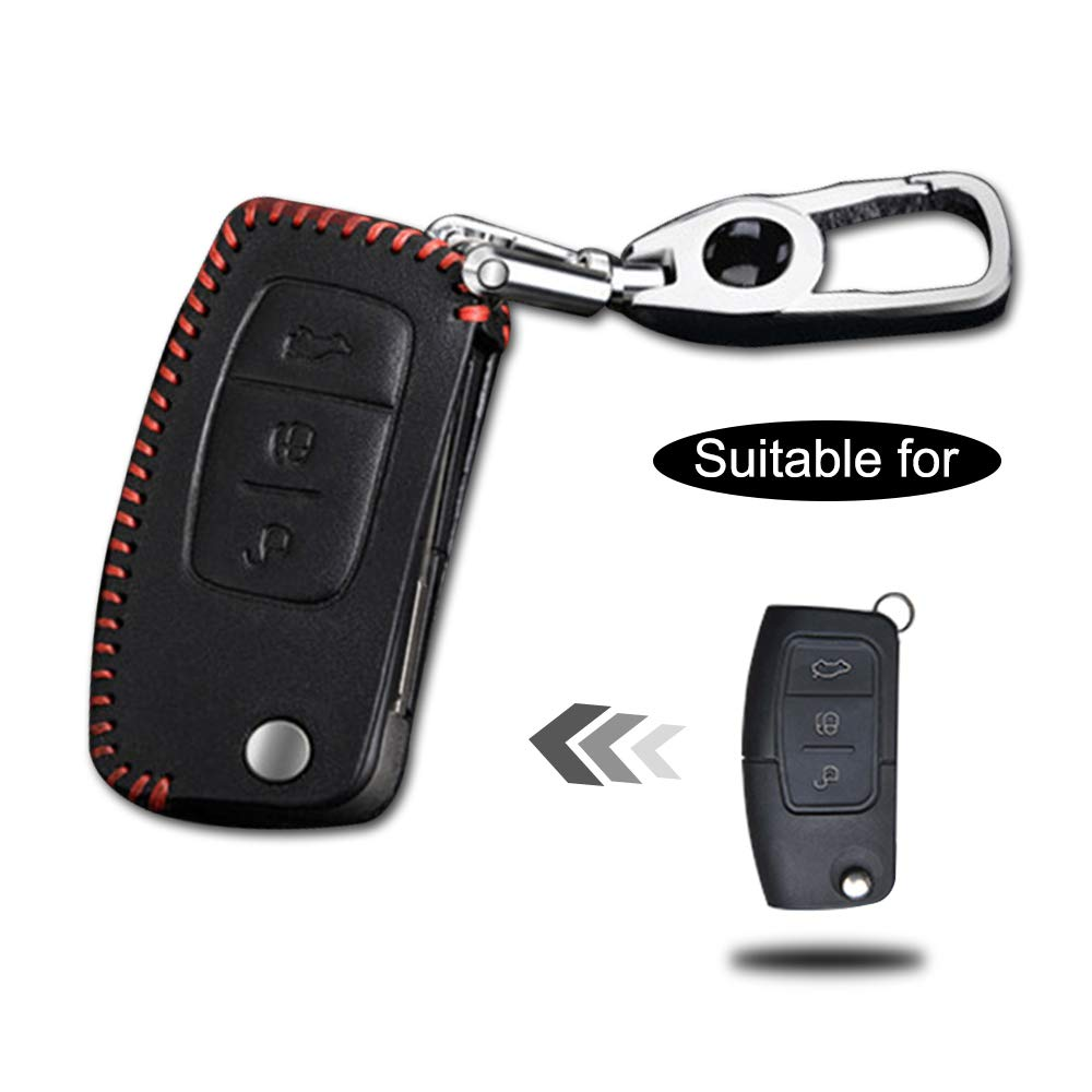 Carcasa Cuero para Llave Ford 3 Botones Llave Control Remoto Plegable l/ínea roja con Llaveros 1 PC Modelo D