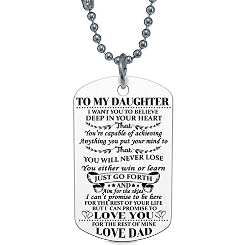 Dolland To My Daughter I Want You To Believe Love Dad Dog Tag Military Air Force Navy Necklace Ball Chain Gift for Best Son Birthday Graduation Stainless Steel