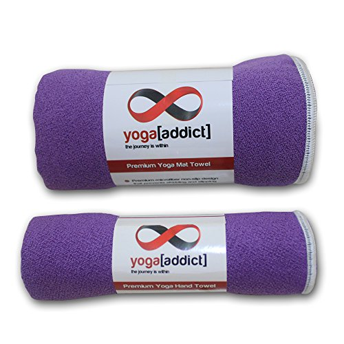 Hot Yoga Mat Towel and Hand Towel Set of 2-100% Microfiber, Non Slip, Skidless, Super Absorbent, Ideal as Bikram, Ashtanga, Hot Yoga, for Yoga, Pilates, Meditation, Fitness, Sports, Beach - Lavender