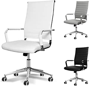 Okeysen Office Desk Chair, Ergonomic High Back Ribbed, Height Adjustable Tilt, Upgraded Seat with Arm PU Wrap, Swivel Executive Conference Task Rolling Chair. (White)