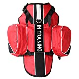 haoyueer Service Dog Vest Harness Chest Plate Removable in Training Label Patches & Side Saddle Bags(Red,L)