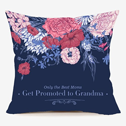 LEIOH Only the Best Moms Get Promoted to Grandma Cute Flower Blue Throw Pillow Case Sofa Cushion Cover 18 x 18,Mom Birthday Gifts,Mother's Day Gifts from Daughter,Son