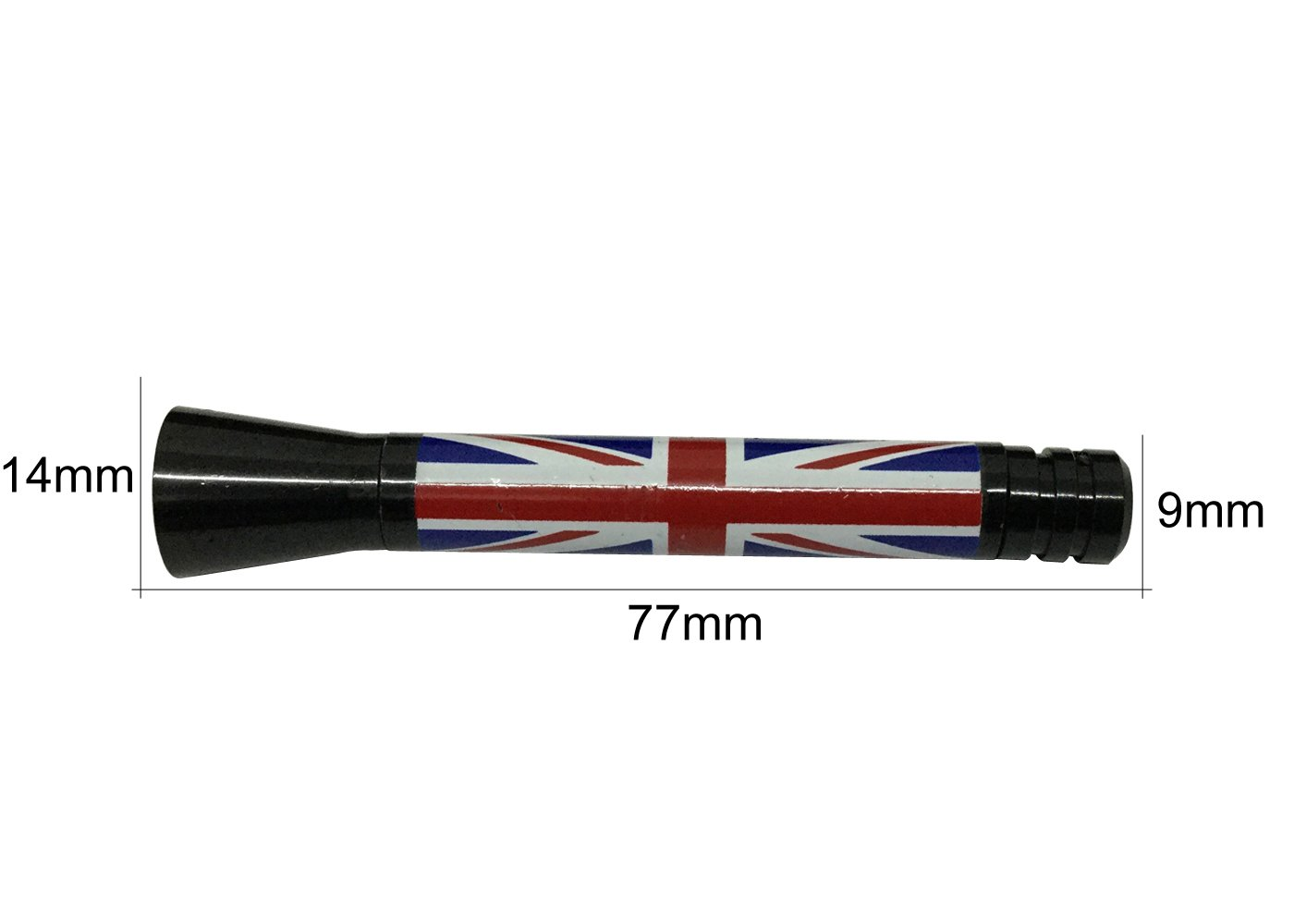 Panpage Combo Set Roof Top Radio Stubby Union Jack Flag and Black White Union Jack Flag Aluminum Screw Base Alloy Car Stylish Antenna 14mm x 77mm x 9mm For Mini Cooper Car Auto External Accessories