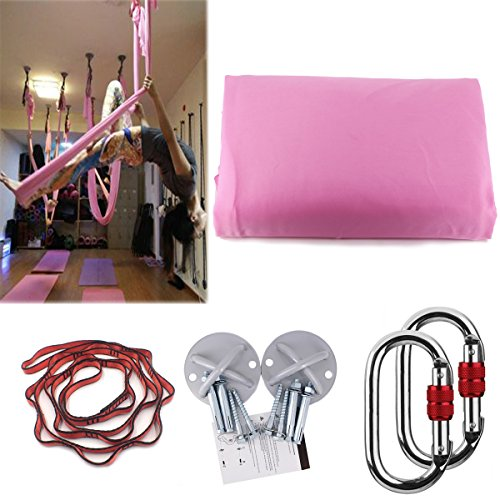 KIKIGOAL 5M Yoga Pilates Aerial Silk Kit Yoga Swing Aerial Yoga Antigravity Hammock Trapeze Silk Fabric for Yoga Strap Bodybuilding (sakura pink)