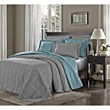 3 Piece Grey Oversized Bedspread Queen, Gray Geometric Pattern Oversize To The Floor Extra Long Bedding, Wide Drapes Over Edge Drops Down Shabby Chic French Country Checkered Plaid, Cotton
