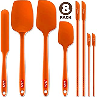 Forc Silicone Spatula Set of 8 include 4 Mini Spatulas, Heat Resistant Rubber Spatula Kitchen Utensils, One Piece Design with Stainless Steel Core, Kitchen Spatulas for Nonstick Cookware, Orange