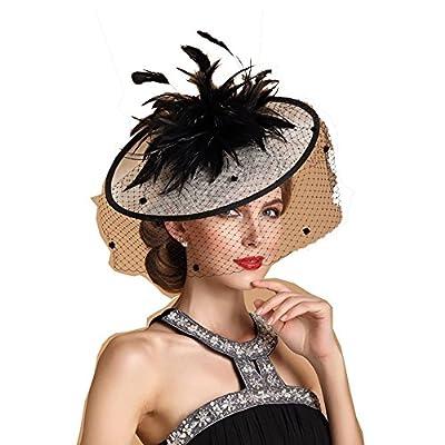 Fascinator Derby Hat Evening Feast Party Wedding Headpiece Band Headwear Feather Veil