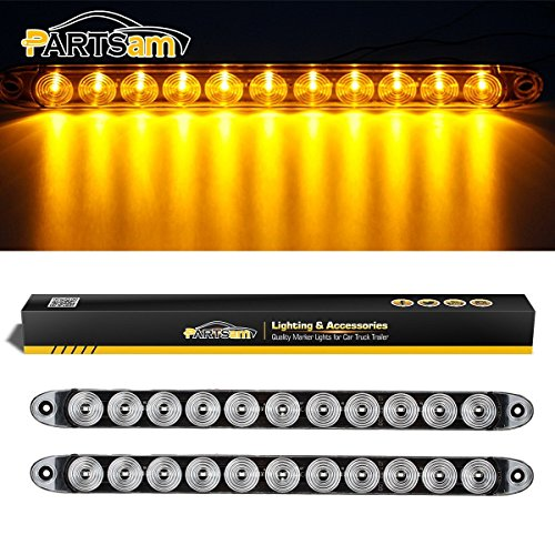 Partsam 2x Clear Lens Flange Mount 15 Turn Signal Marker light Bar Amber 11LED Waterproof for Trucks Trailers RV Boat, Super Thin Yellow Led Strip ID Light Bar P/T/C Parking Lights