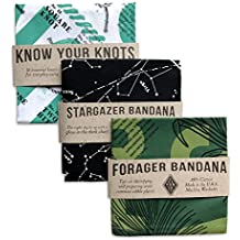 Colter Co. Survival Bandana 3 pack for Camping, Hiking, Fishing   100% Cotton, Knot Tying Guide, Glow in the Dark Star Chart, Edible Plants Guide Prints, Made in the USA by