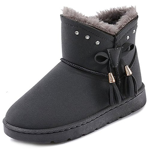 Women's Calf Grey Snow ZHZNVX Winter Gray Shoes Heel Mid for Boots HSXZ Boots Fall Round Casual Black Flat Toe Boots PU Comfort 51xZ0AwZq