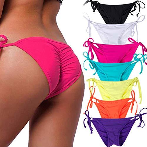 STARBILD Women's Sexy Brazilian Bikini Bottom with Tie-Side Cheeky V Cut Thong Swimsuit S ()