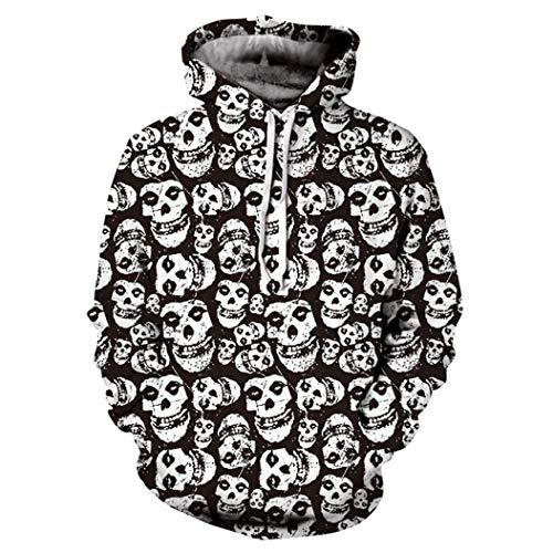 vermers Mens Casual Halloween Skull 3D Print Party Sweatshirt - Men Fashion Long Sleeve Hoodie Tops Blouse(L, Black) ()