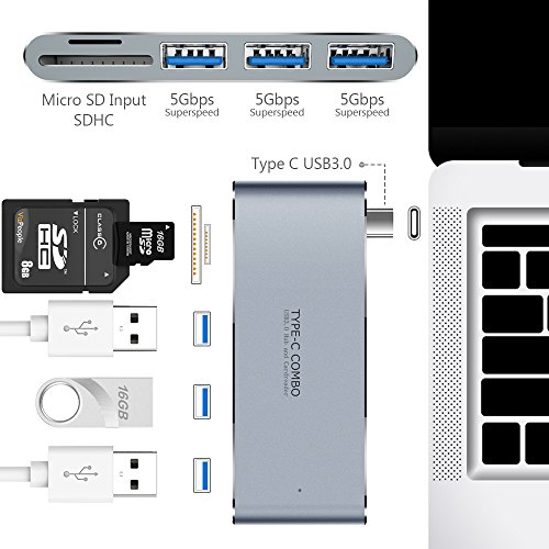 USB C Hub, Type C Hub with SD/TF Card Reader and 3 USB 3.0 Ports, All in one Combo Hub with Multi-Port Charging, Aluminum USB C Charger Adapter for MacBook,Support all Type-C Devices-Color:Space Gray