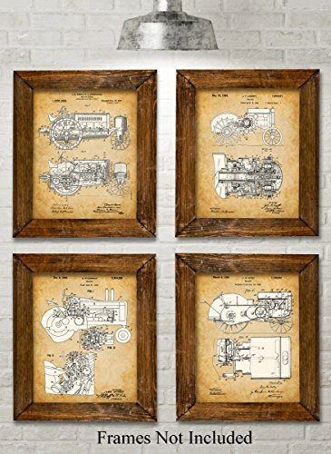 Original John Deere Tractors Patent Art Prints - Set of Four Photos (8x10) Unframed - Great Gift for Farmers or Country decor