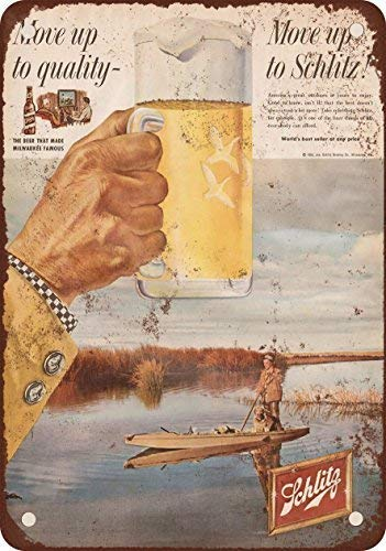 GMNJH 1958 Schlitz Beer and Duck Hunting Vintage Look Reproduction Metal Tin Sign 8X12 Inches