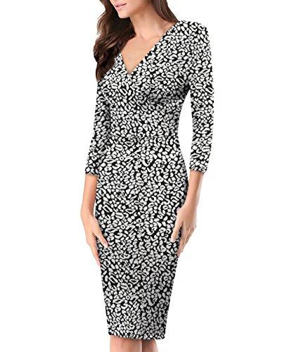 Women's Plum Cross V Neck MIDI Dress KDR44322 D8600 BLACK/WHIT L