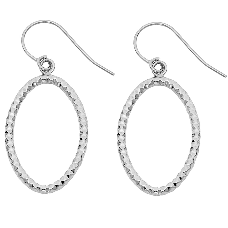 14k White Gold Oval Shape Fluted Fish Hook Hoop Earrings (30 x 18 mm)
