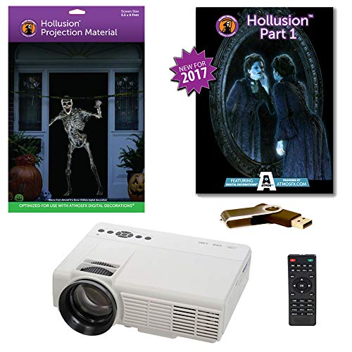 AtmosFearFX Hollusion 1 Compilation Video - 800 x 480 Resolution Projector Kit on USB with Hollusion Screen (lg). Includes Effects from Bone Chillers, Ghostly Apparitions, Macabre Manor and Phantasms]()