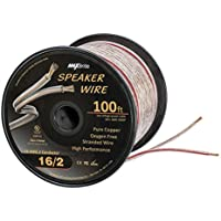 High Performance 16 Gauge Speaker Wire, Oxygen Free Pure Copper - UL Listed Class 2 (100 Feet Spool)