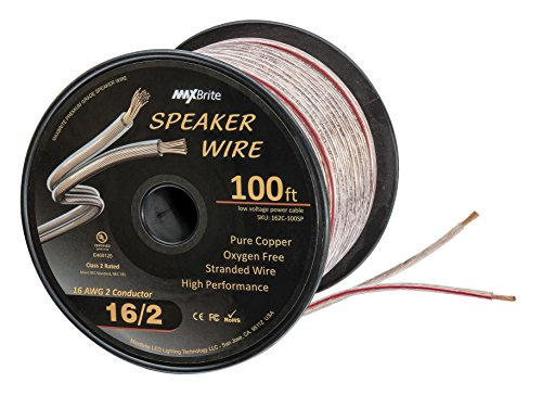 High Performance 16 Gauge Speaker Wire, Oxygen Free Pure Copper - UL Listed Class 2 (100 Feet Spool) (Gauge Oxygen Free Speaker Cable)