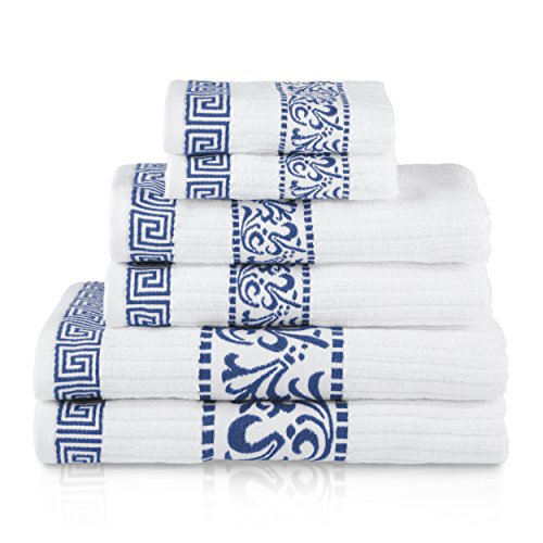 Superior Athens 100% Cotton, Soft, Extremely Absorbent, Beautiful 6 Piece Towel Set, Navy (Best Superior Bath Towel Sets)
