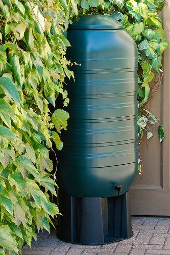 XXL Regentonne aus Kunststoff mit 250 Liter Volumen inklusive Stand, Füllautomat und Hahn! In schlankem Format und dezenter Optik in
