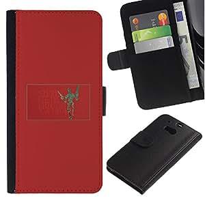 MobileX / HTC One M8 / Funny Robot / Cuero PU Delgado caso Billetera cubierta Shell Armor Funda Case Cover Wallet Credit Card