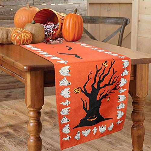 Halloween Table Runners (OurWarm Halloween Table Runner Linen Bats Table Cover, Pumpkin and Ghost Table Runner for Halloween Table Decorations and Scary Movie Nights, 16 × 74)