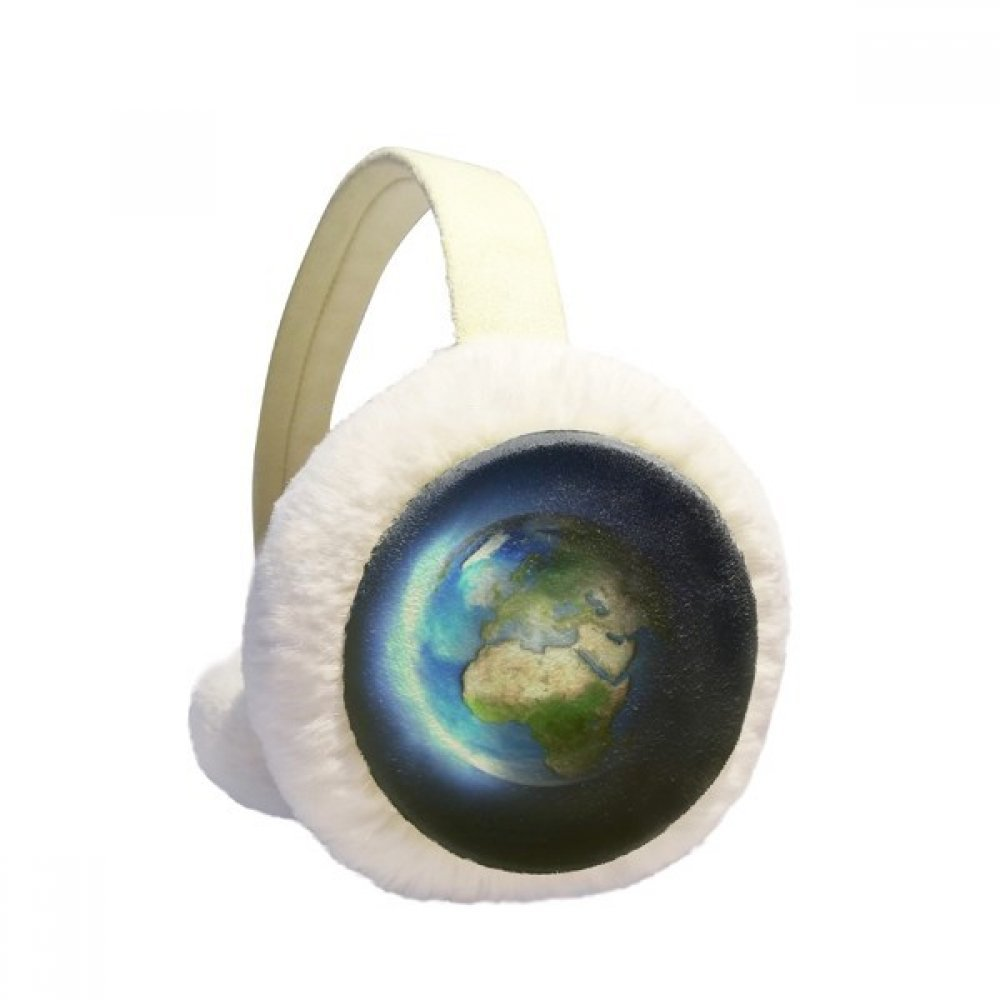 Blue White Planet Earth Winter Earmuffs Ear Warmers Faux Fur Foldable Plush Outdoor Gift DIYlab sku00882843b873158f20150