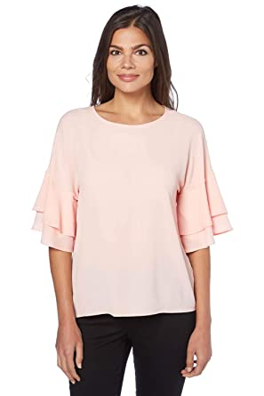 9911c135f5923c Roman Originals Women s Frill Sleeve Top - Light-Pink - Size 20 ...