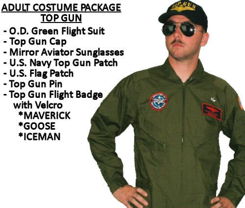 Maverick Top Gun Costumes - Top Gun Costume Package - Adult (Medium - GOOSE)