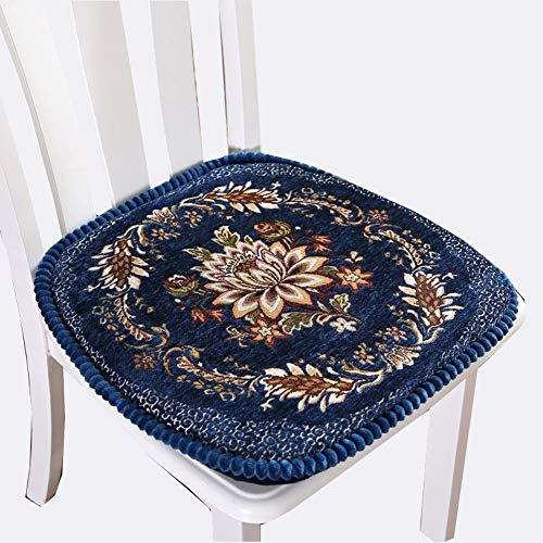 Peacewish European Style Kitchen Chair Cushions, Floral Seat Cushion with Tie, Washable, Indoor, Dining Living Room, Kitchen, Office (Set of 4, Blue) (Embroidered Chair Pads)