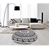 "Icc New 32"" Black and White Floor Pillow Cover Cushion Floor Pillow Mandala Ottoman Pouf case Pillows Decorative Throw Round Pillowcase Indian Cushions Seating Bohemian for Couch Decor Boho"