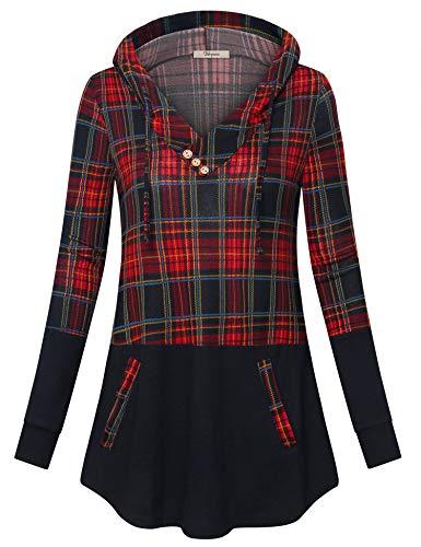 Bebonnie Christmas Hoodies, Women's Festival Holiday Xmas Color Block Fashion Plaid Sweatshirt Pullover Sweatshirt Tunic Top Red Black L]()