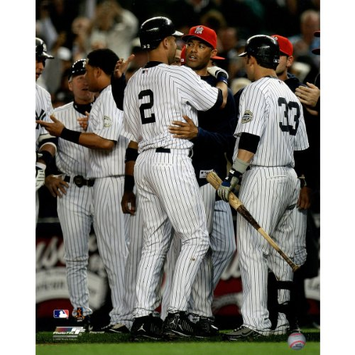 Derek Jeter Record - Derek Jeter Being Congratulated By Mariano Rivera After Passing Lou Gehrigs Record For Most Hits By A Yankee 16 Inch X 20 Inch Photo