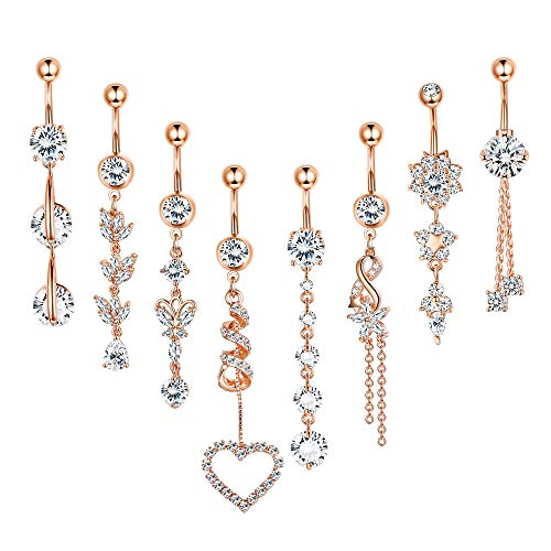 FUNRUN JEWELRY 8PCS 14G Stainless Steel Dangle Belly Button Ring Navel Piercing Clear CZ Inlay Body Piercing Jewelry Barbell Rose Gold Tone
