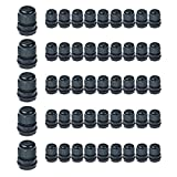 Nineleaf 50PK Black Compression Cable Gland Adjustable 6 - 12mm Joint Cable Connector, Higher Weatherproof Rating of IP66