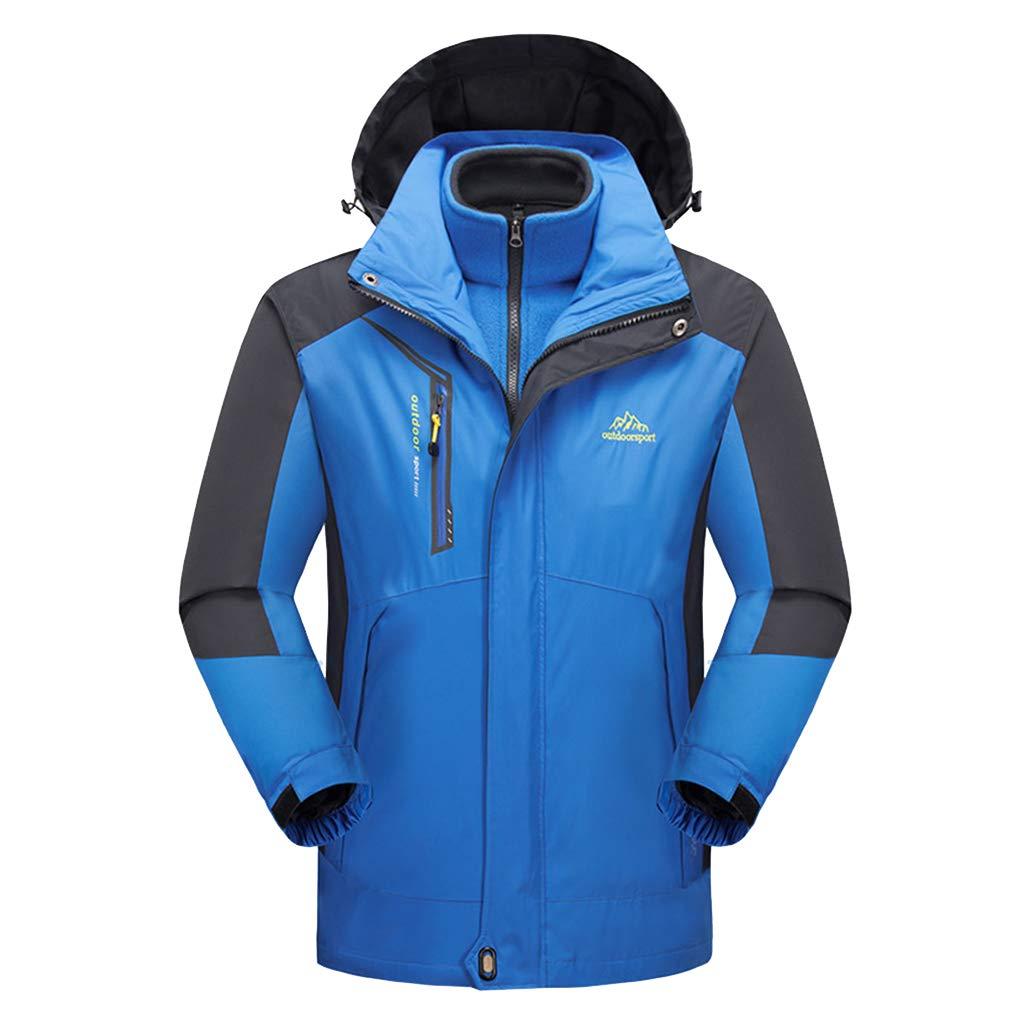 Wasserdicht 3 in 1 Jacke für Herren herausnehmbarer Innenjacke Mountain Ski Mantel Warm Camping Wandern Berglaufjacken